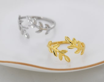 Details about  /14K Yellow Gold Olive Leaf Branch Vine Ring