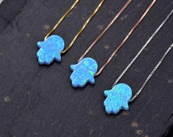 Turquoise blue opal hamsa necklace Minimalist girl jewelry 925 sterling silver hamsa pendant Delicate hand of Fatima necklace.