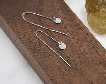 Sterling Silver Tiny Round Disk Ear Threaders, Silver, Delicate Coin Earrings, Minimalist Threader Earrings