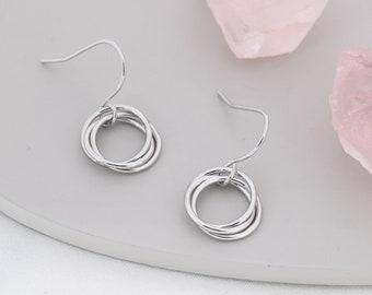 Russian Ring Drop Earrings in Sterling Silver, Silver or Gold or Rose Gold, Minimalist Russian Knot Dangle Earrings