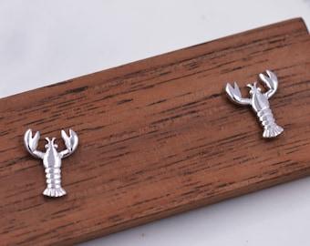 Sterling Silver Lobster Stud Earrings, Ocean Creature Earrings, Cute and Quirky