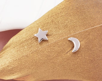 Tiny Crescent Moon and Star Mismatched Asymmetric Stud Earrings in Sterling Silver, Cute Fun and Quirky