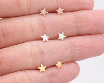 Sterling Silver Tiny Little Star Stud Earrings -  Cute Fun Minimalist Geometric Jewellery - Gold and Rose Gold