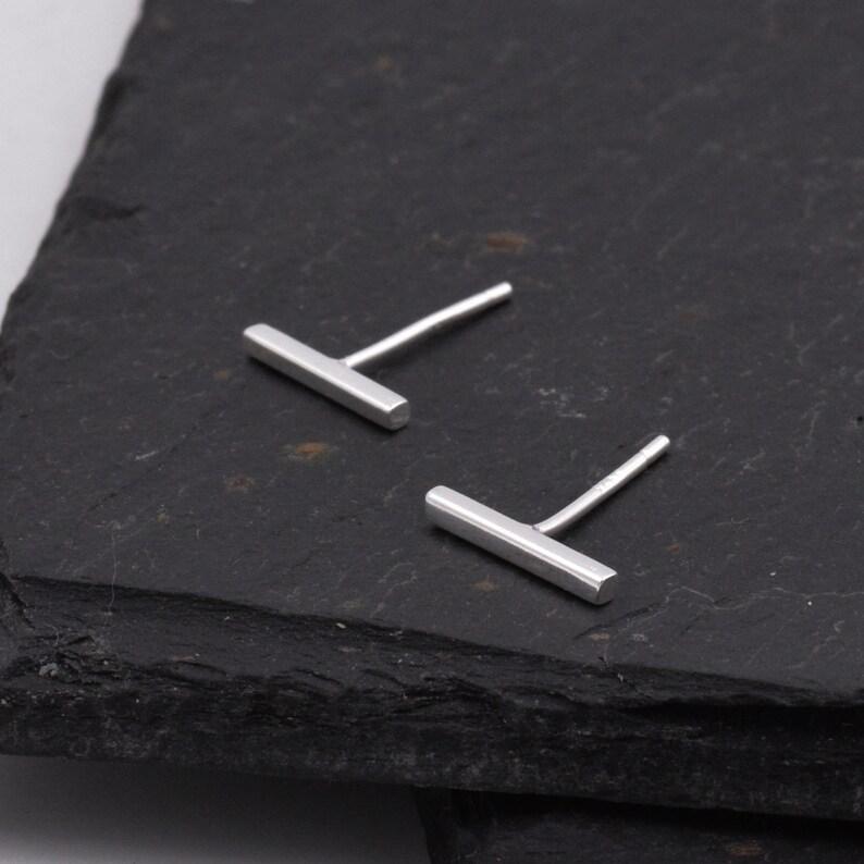 Sterling Silver Minimalist Bar Stud Earrings Geometric Jewellery  C7