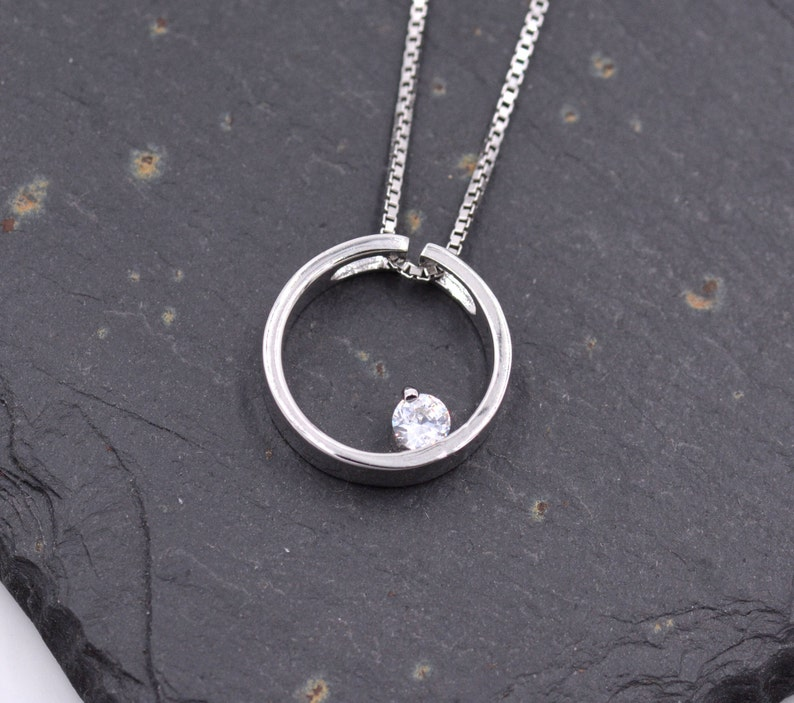 d465564160 Sterling Silver Open Circle Pendant Necklace with a Sparkly CZ   Etsy