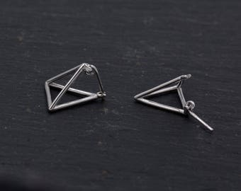 Sterling Silver Geometric Triangle Pyramid Front and Back Ear Jacket Stud Earrings Geometry Minimalist Jewellery   H65