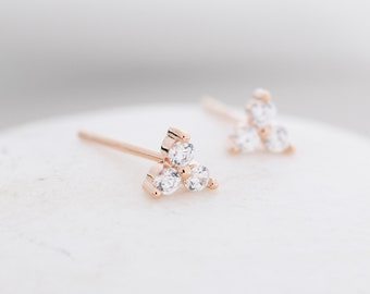 Very Tiny Three Dot Trio Stud Earrings in Sterling Silver with Sparkly CZ Crystals, Silver, Gold, Rose Gold
