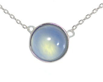 Blue Chalcedony Gemstone Coin Necklace in Sterling Silver 16'' - 18'' - Simple and Delicate