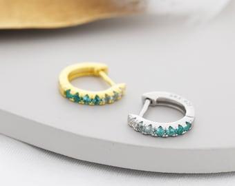 Emerald Green Ombre CZ Huggie Hoops in Sterling Silver, Silver or Gold, Minimalist Hoop Earrings, 8mm Hoops, cartilage hoops, Gradient