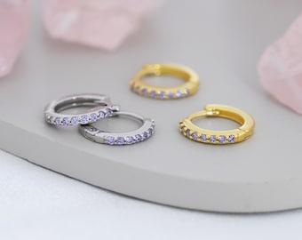 Amethyst Purple CZ Huggie Hoops in Sterling Silver, Silver or Gold, Minimalist Hoop Earrings, 6mm and 8mm Hoops, Cartilage Hoops