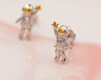 Extra Tiny Spaceman Astronaut Stud Earrings in Sterling Silver - Miniature Space Earrings - Planet Earrings - Whimsical and Pretty Jewellery