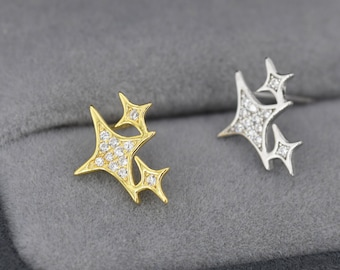 Sparkly Stars CZ Stud Earrings in Sterling Silver, Four Point Star Earrings, Silver or Gold, Three Star Earrings, Celestial Earrings