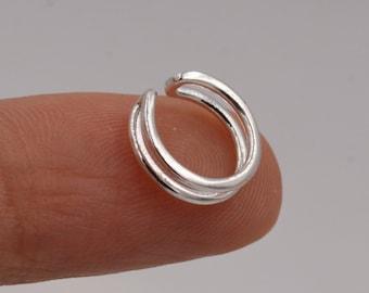 Minimalist Sterling Silver Ear Cuff, Double Bar Ear Cuff,  Simple and Minimalist