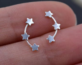 Tiny Star Trio Constellation Sterling Silver Dainty Stud Earrings, Available in Gold, Rose Gold and Silver, Tiny Star crawlers