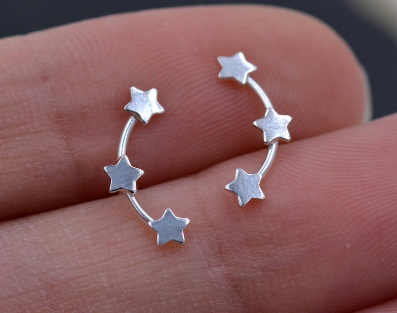 Tiny Star Trio Constellation Sterling Silver Dainty Stud image 1