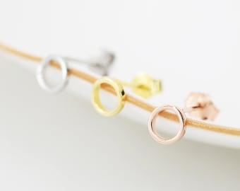 Tiny Open Circle Stud Earrings in Sterling Silver, Silver, Gold or Rose Gold, Circle Earrings, Geometric Minimalist Earrings