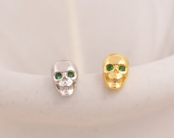 Extra Tiny Skull Stud Earrings in Sterling Silver with Emerald Green CZ - Gold or Silver - Skull Earrings - Petite Stud Earrings