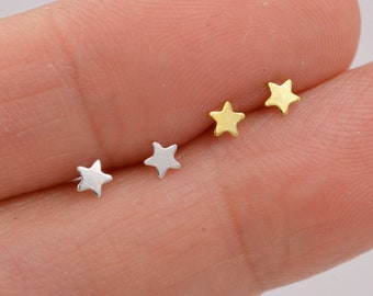 Extra Tiny Star Stud Earrings in Sterling Silver, Gold or Silver, Dainty, Celestial Stud, Delicate and Pretty