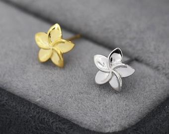 Tiny Plumeria Flower Stud Earrings in Sterling Silver, Small Flower Earrings, Nature Inspired Floral Earrings