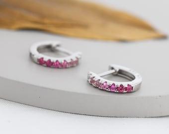 Ruby Pink Ombre CZ Huggie Hoops in Sterling Silver, Silver or Gold, Minimalist Hoop Earrings, 8mm Hoops, cartilage hoops, Gradient