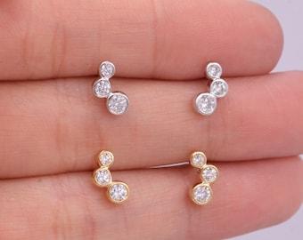 Small Pair CZ Crystal Trio Stud Earrings, Dot Earrings, Sparkly Earrings, Minimalist Extra Small earrings