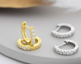 CZ Huggie Hoops in Sterling Silver, Silver or Gold, Minimalist Hoop Earrings, 8mm Hoops, cartilage hoops