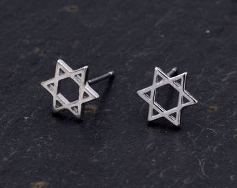 Sterling Silver Star of David Stud Earrings Y9