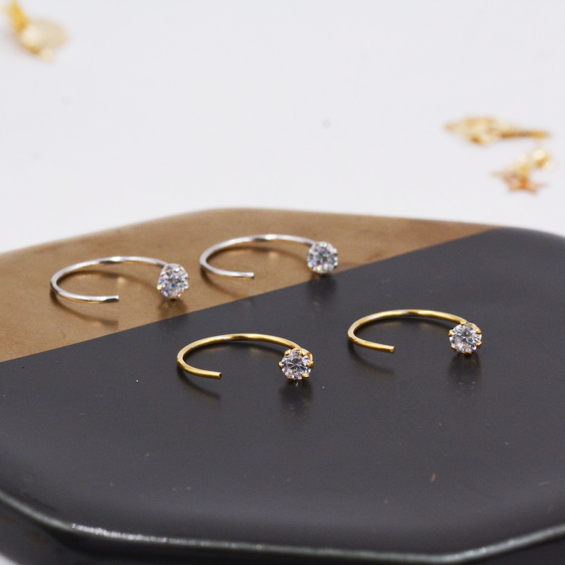 6257d65845f2c Minimalist Huggie Hoops in Sterling Silver with Sparkly CZ crystals,  Geometric Circle Earrings J9