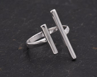 Sterling Silver Geometric Double Bar Open Ring -   Adjustable Ring -  Contemporary and Elegant Jewellery