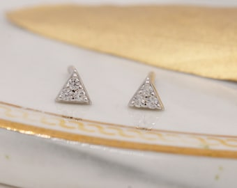 Petite Triangle Stud Earrings in Sterling Silver with CZ crystals, Crystal Pave Triangle Earrings, Tiny Sparkly Triangle Stud