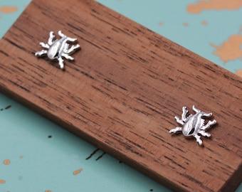 Stag Beetle Stud Earrings in Sterling Silver, Cute Bug Stud, Cute and Quirky Stud Earrings
