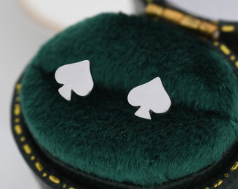 Card Suit Stud Earrings in Sterling Silver, Spade Earrings, Club Earring, Poker Set Earrings