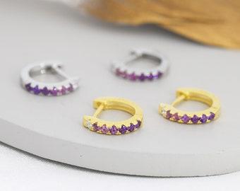 Amethyst Purple Ombre CZ Huggie Hoops in Sterling Silver, Silver or Gold, Minimalist Hoop Earrings, 8mm Hoops, cartilage hoops, Gradient