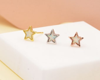 Opal Star Stud Earrings in Sterling Silver - Simulated Opal Stud Earrings  - Silver Gold and Rose Gold - Geometric Minimalist