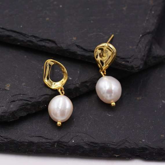 Sterling Silver /& White FRESH WATER PEARL 11 mm Clous d/'oreilles