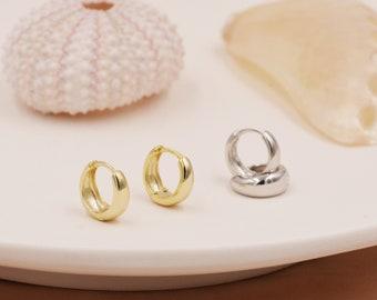 Mini Chunky Hoop Earrings in Sterling Silver, Chubby Hoop Earrings, Chunky Hoop Earrings, Silver or Gold