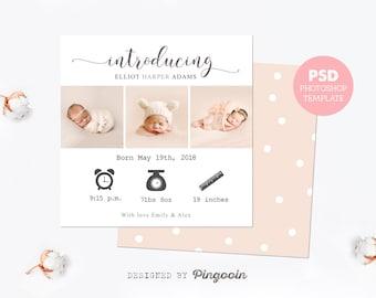birth announcement template newborn card baby announcement etsy