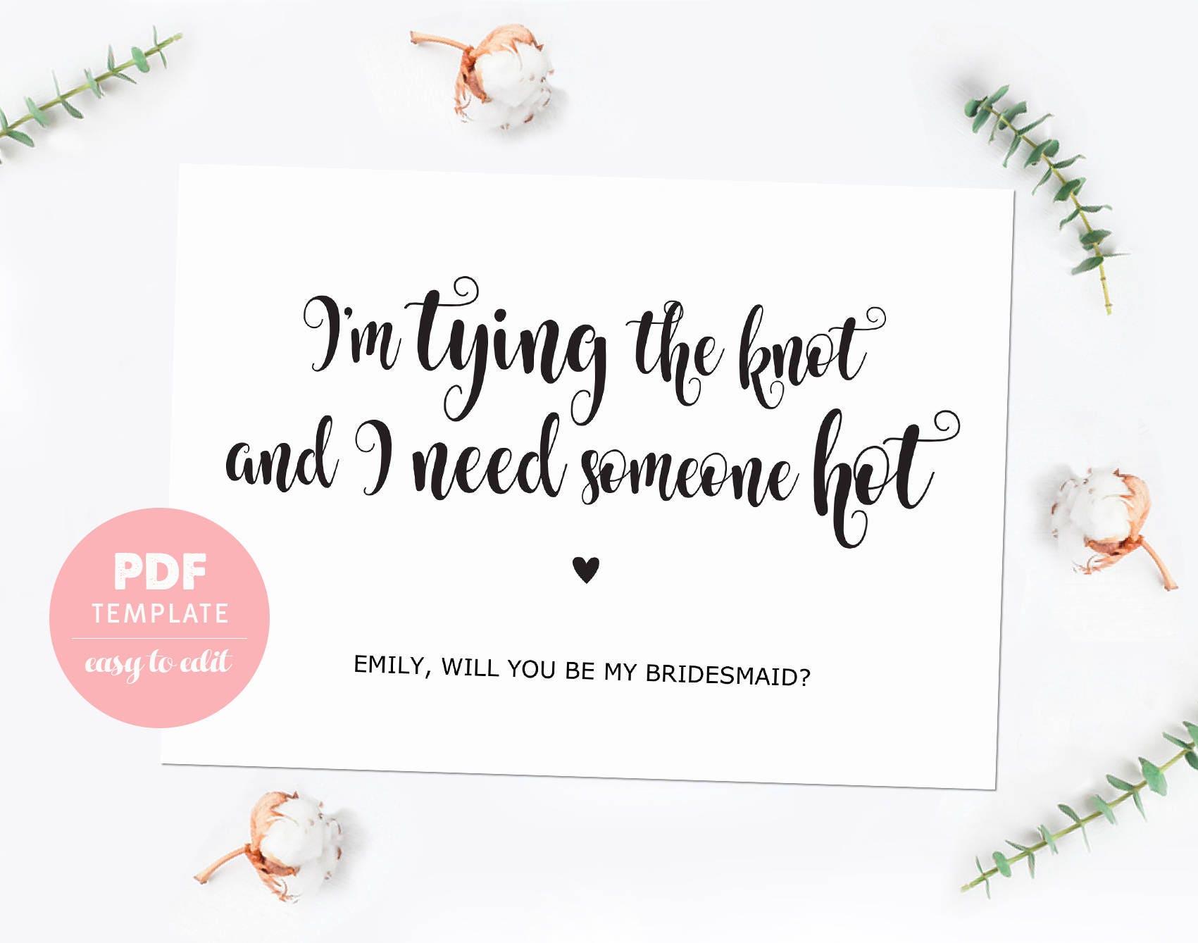 Bridesmaid Proposal Card Funny Bridesmaid Template Card Made Etsy