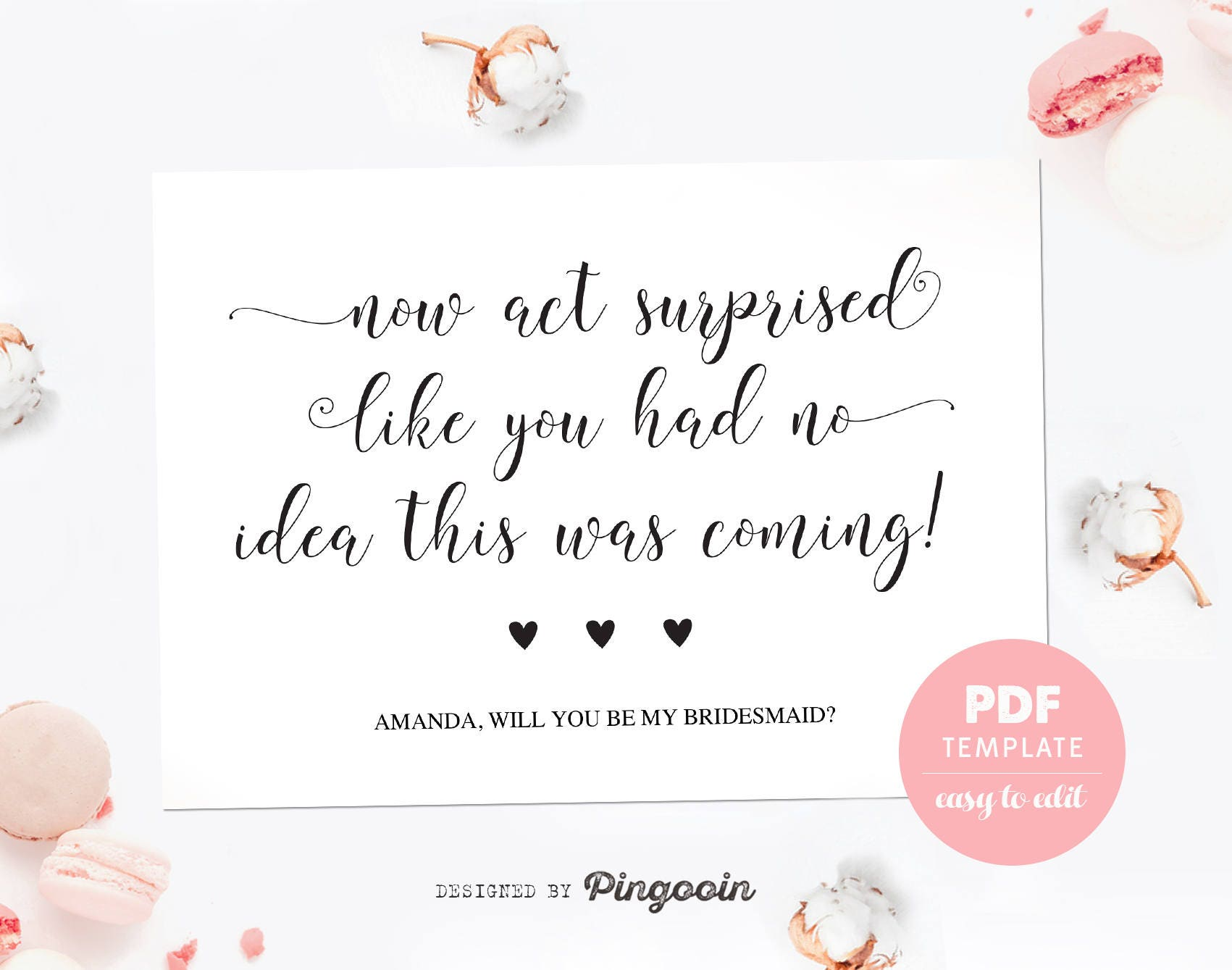 photograph about Free Printable Bridesmaid Proposal named Bridesmaid proposal card. Amusing bridesmaid template card. Designed of honor card. Bridesmaid proposal PDF template for fast down load. BMP006