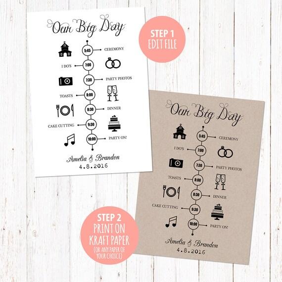 Timeline Vorlage Hochzeitskarte. Digital bedruckbare | Etsy