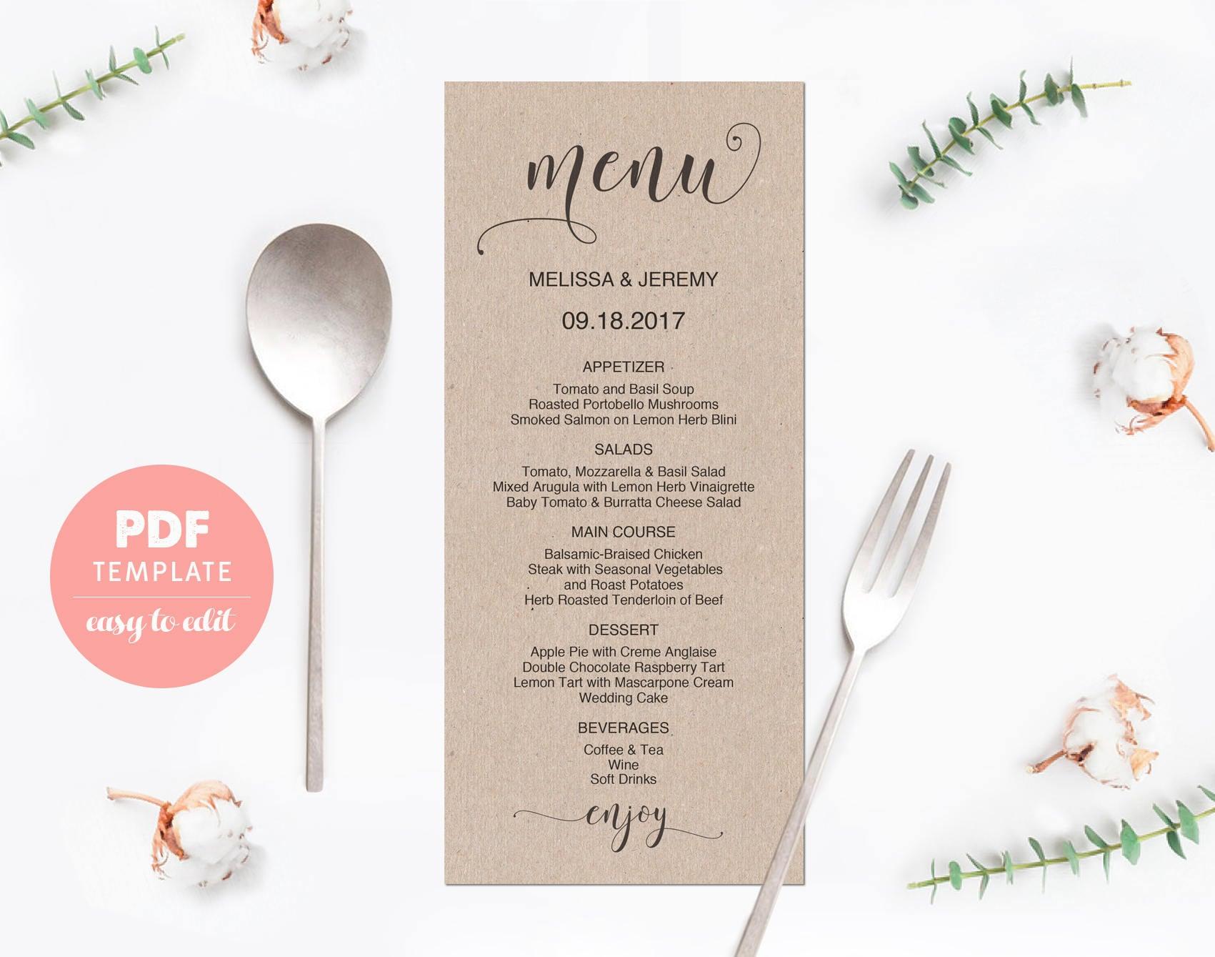 wedding menu card wedding menu template card editable pdf. Black Bedroom Furniture Sets. Home Design Ideas