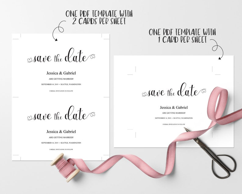 Save the date card  Wedding invitation  Save the date template  Wedding  printable  Wedding template  Editable PDF template  WTA02