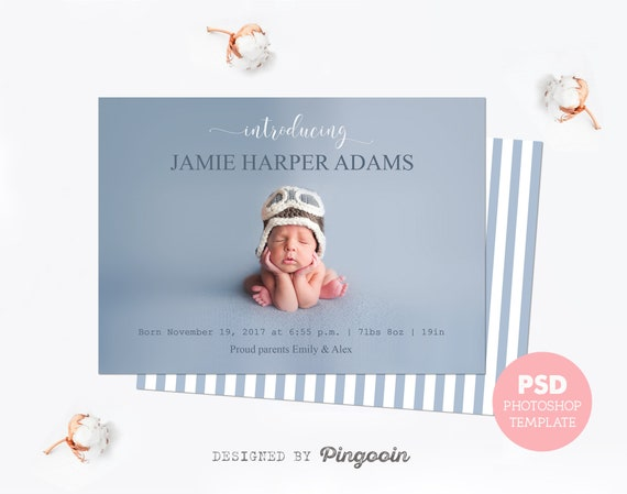 Birth Announcement Template Baby Announcement Card Newborn Announcement Birth Template Baby Card Personalized Baby Psd Files Bat21