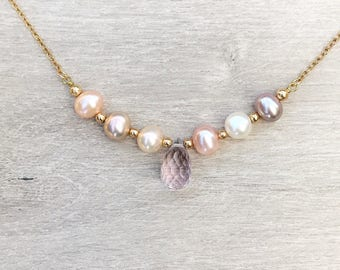 Mauve pearls and pink amethyst necklace, pearl necklace, June birthstone, Feburary birthstone, birthstone necklace, gold filled neck