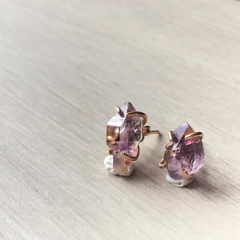 vera cruz amethyst February birthstone Amethyst crystal ear studs February birthday gift purple crystal earrings amethyst earrings