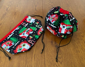 Small finch bag - Christmas camper fabric