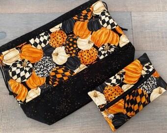 Medium Pumpkin finch bag and notions pouch with pumpkin progress keeper