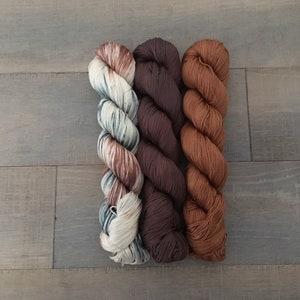 Nello 3 color shawl kit on pima cotton fingering