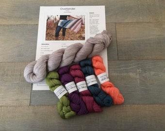 Overlander shawl kits on 100% pima cotton fingering