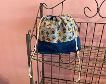 Medium finch bag. Birdhouse fabric